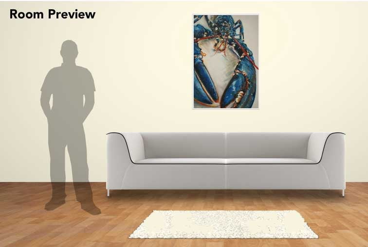 Lobster Blue Print, 100cm x 70cm