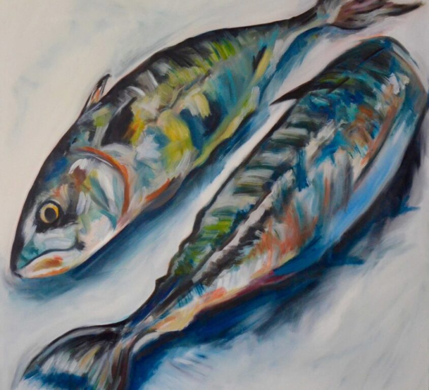 Two Mackerel Print, 76cm x 76cm