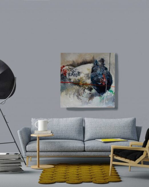 Two-chickens-print-on-wall-1024x922