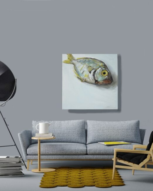 blue-yellow-fish-print-on-wall-1024x922