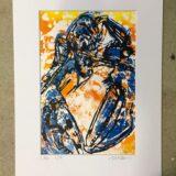 Lobster Blue Orange Lino Print
