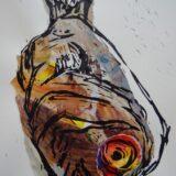 Collaged Fish Lino Print