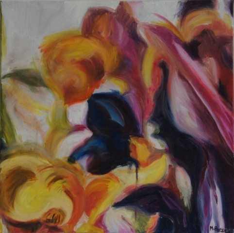 Blurred Tulips, oil on canvas