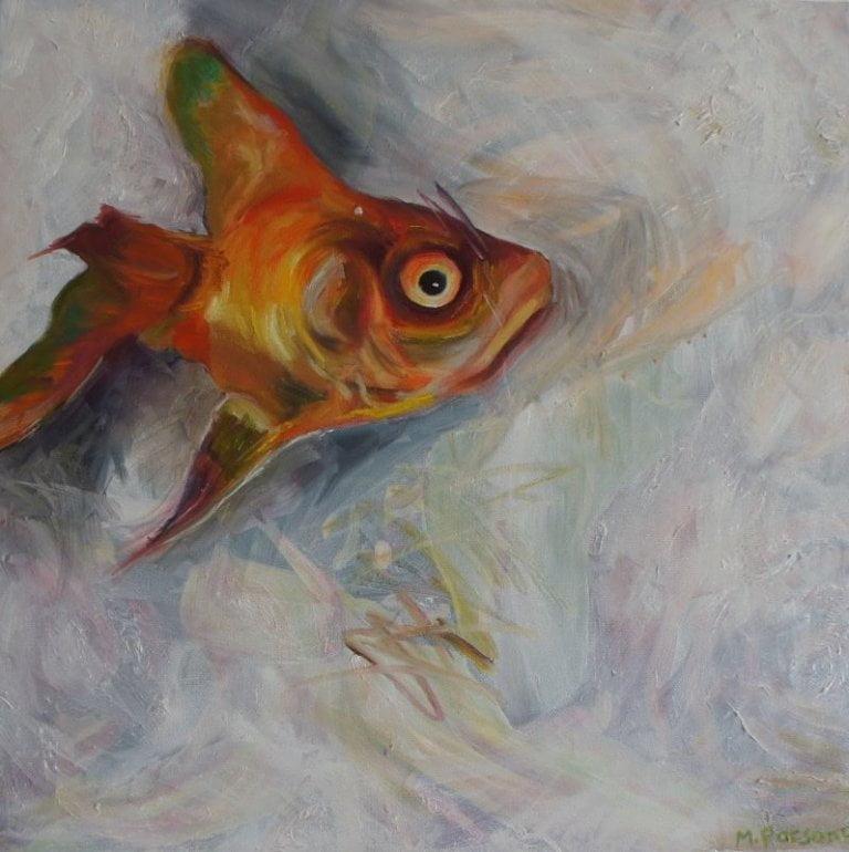 Single Goldfish, oil on canvas