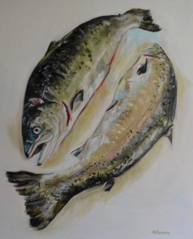 Scottish Salmon, oil on canvas