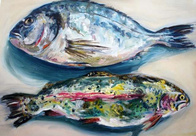 Trout and Bream, oil on canvas