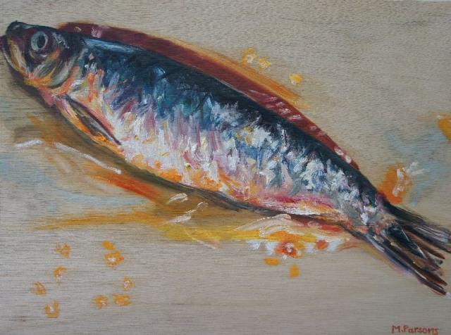 Kipper, oil on wooden panel
