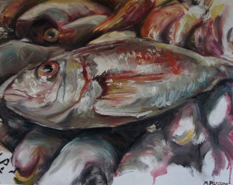 Pink Fish, oil on canvas