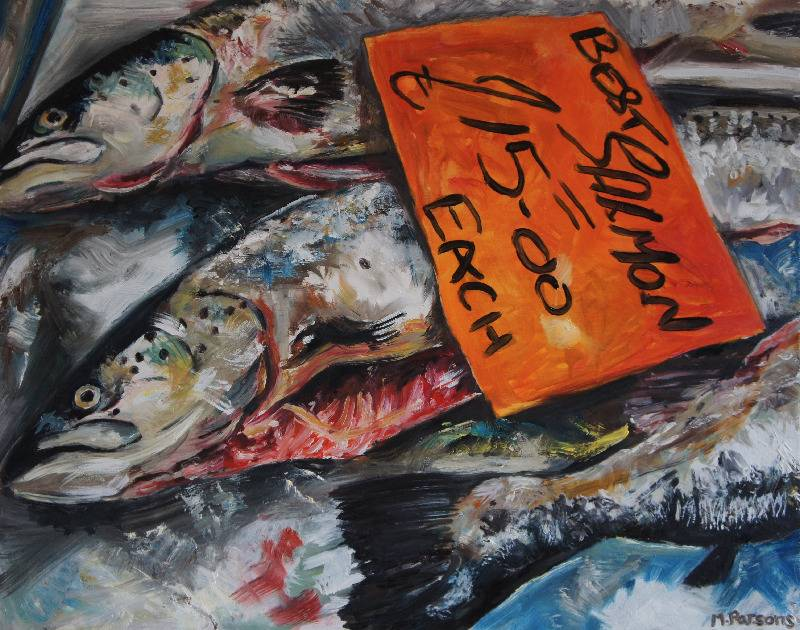 Best Salmon, oil on wooden panel in a white wood frame