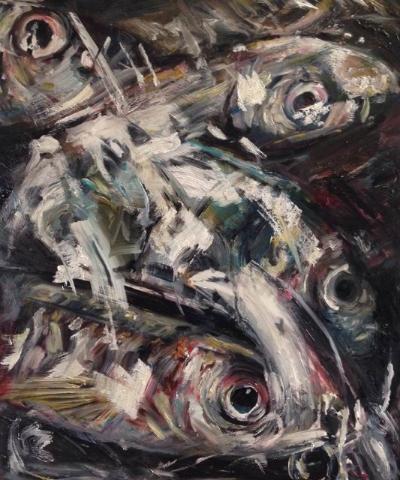 Fish Eyes, oil on panel