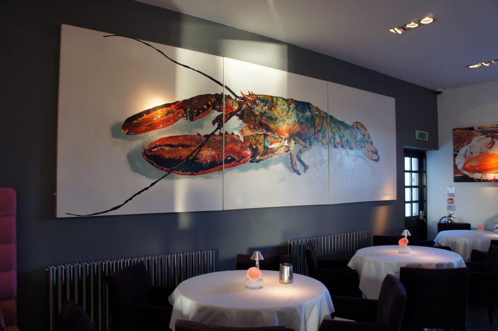 Alec's Restaurant, oil on canvas x 3 panels