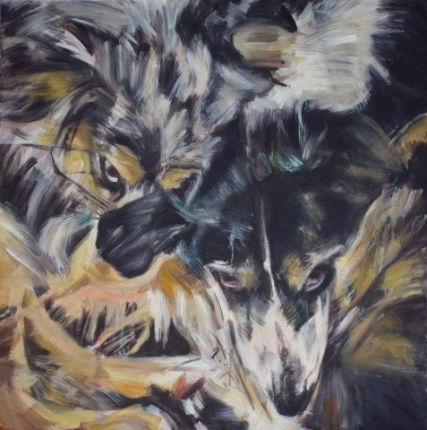 pet portrait, two dogs painting