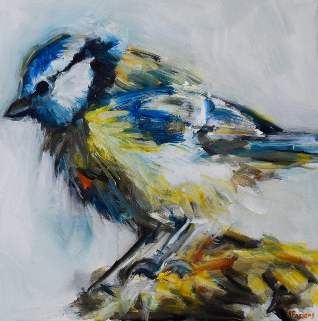 Collaged Blue Tit, oil and card on canvas