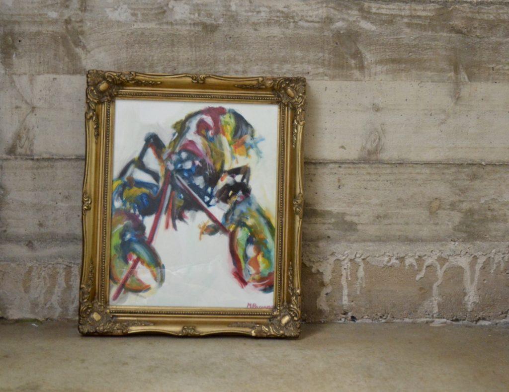Small Framed Lobster, oil on paper in a vintage frame