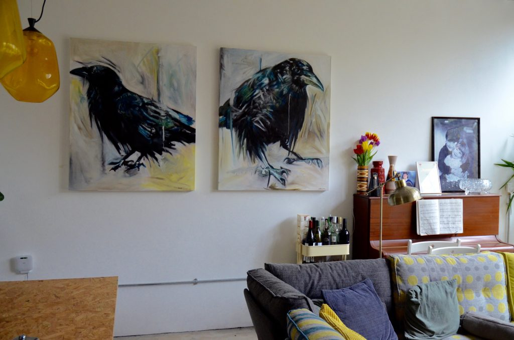 Two birds, magpies, bird painting