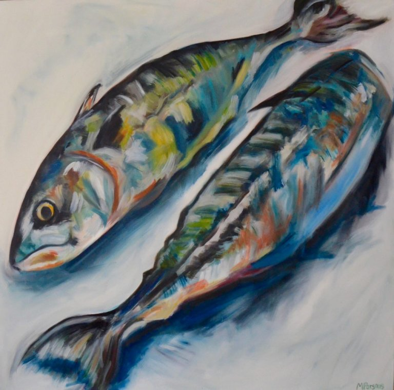 Two Mackerel, oil on canvas