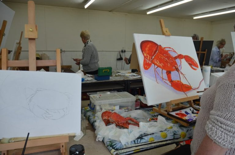 Lobster painting, workshop