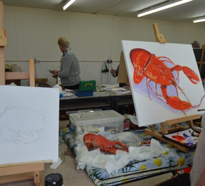 Lobster painting, workshop