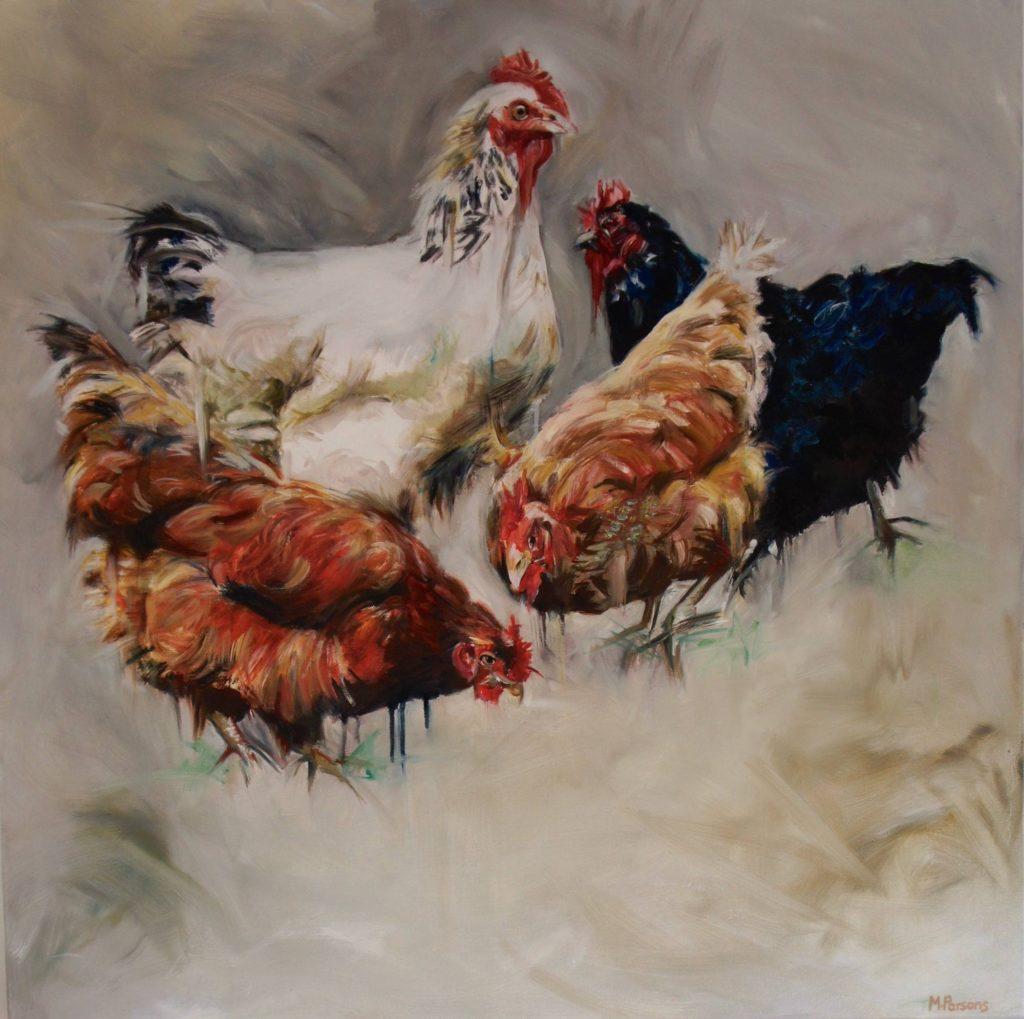 chickens, bird painting