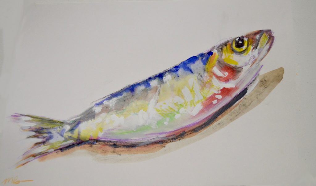 Colourful Fish Study, oil and ink on paper