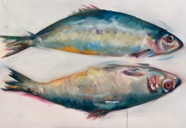 Double Fish, oil on canvas