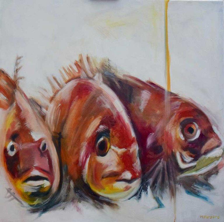 Three Japanese Fish, oil on canvas