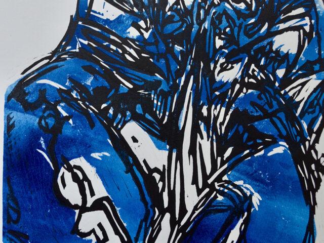 Lobster Blue Lino Print, 30 x 40cm