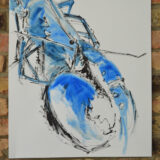 Blue Lobster Study, ink and oil paint on paper