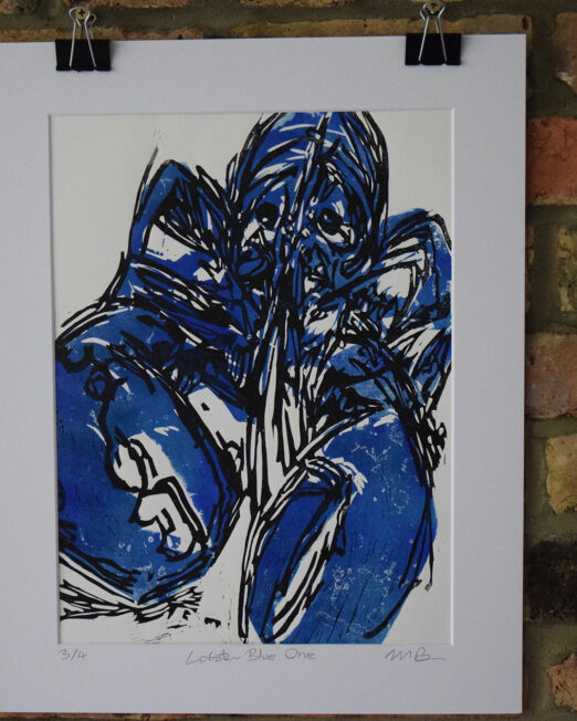 Lobster Blue One lino print