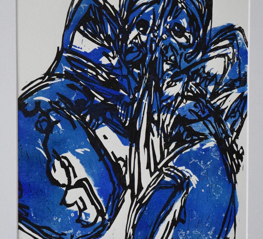 Lobster Blue One lino print