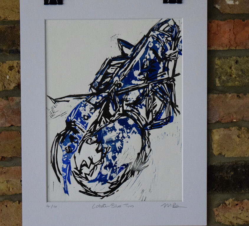 Lobster Blue Two lino print