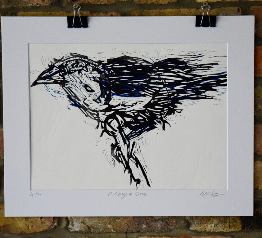 Magpie One lino print