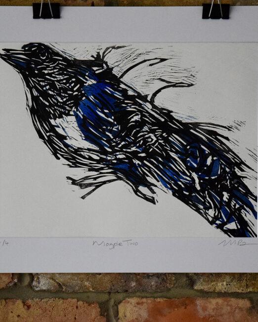 Magpie Two lino print