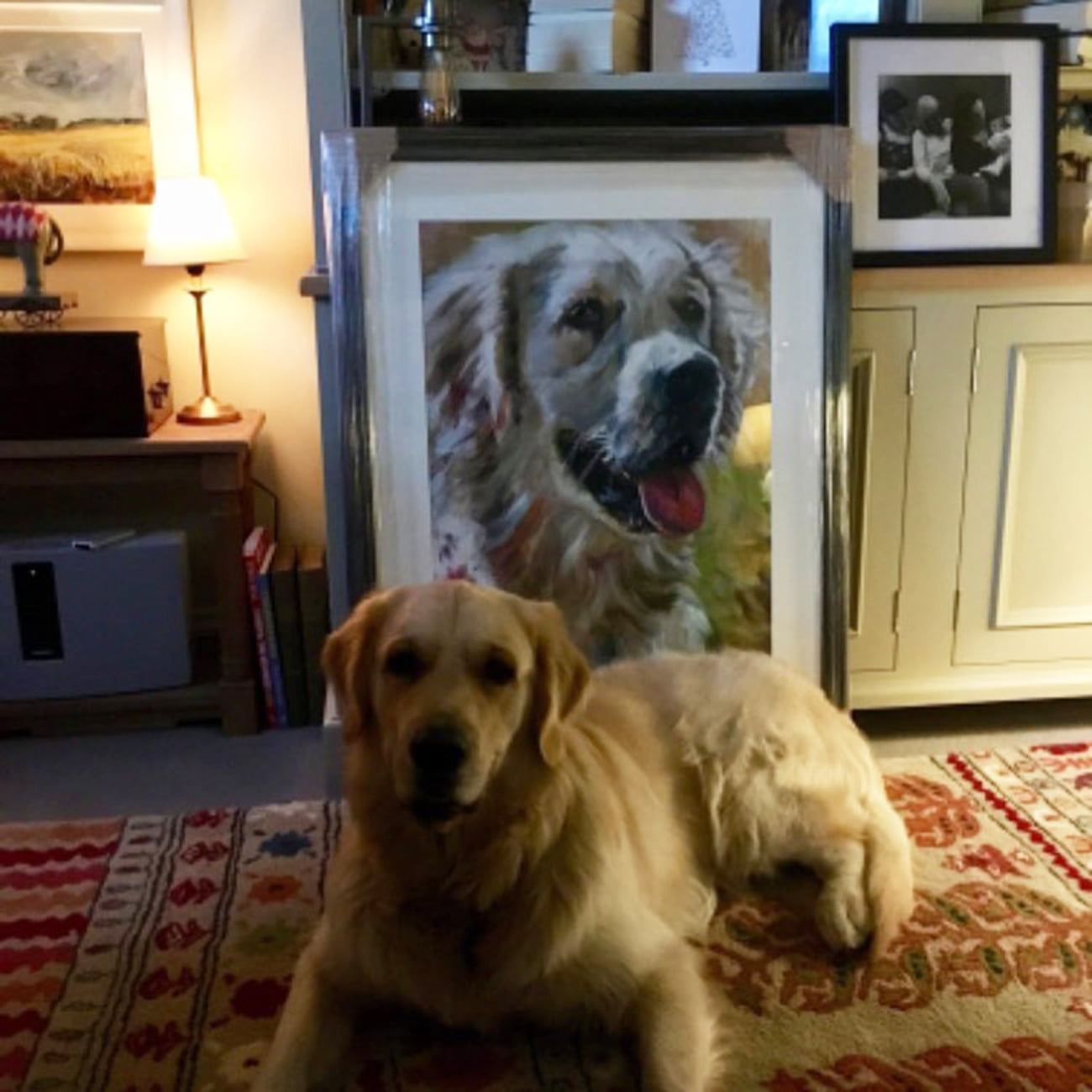 Barney the Dog, oil on paper framed