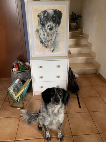 Niva with Niva Portrait, oil on paper framed