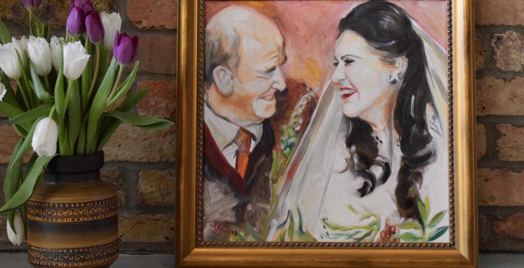 Wedding Portrait, 40 x 40cm framed oil on canvas