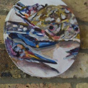 NR Crab, acrylic on canvas 20cm diameter