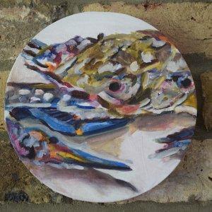 NR Crab,acrylic on canvas 20cm diameter