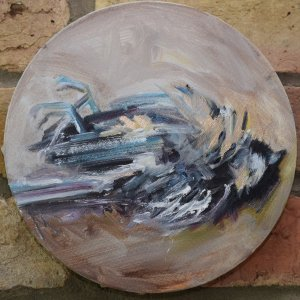 RB Brown oil on canvas, 20cm diameter