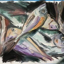 Menorcan Fish Study, oil and charcoal on paper
