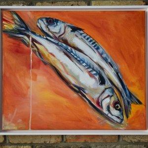Mackerel Orange, oil on canvas framed, 50 x 60cm