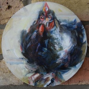 SRC oil on canvas, 20cm diameter