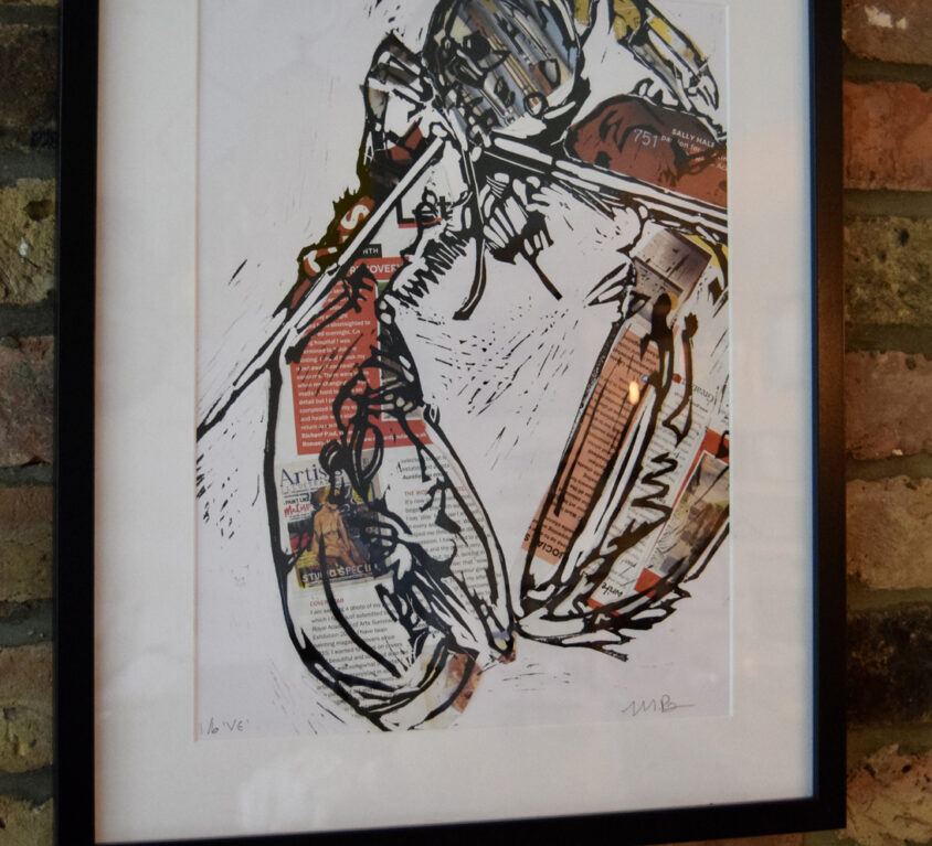 Collaged Lobster lino print, framed