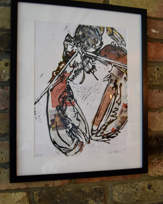 Lobster lino print, black wood frame