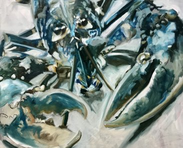 Blue Brown Lobster 80 x 80cm, oil on canvas
