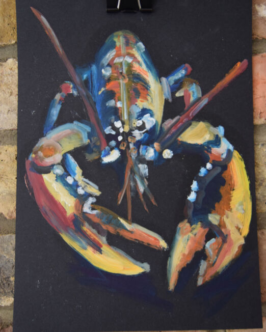 Small Lobster study 21 x 29cm, oil on paper