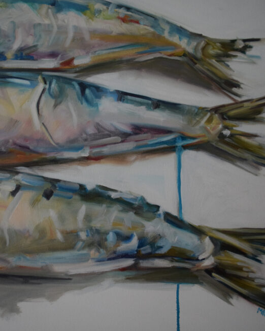 Three Sardines 80 x 100cm, oil on canvas