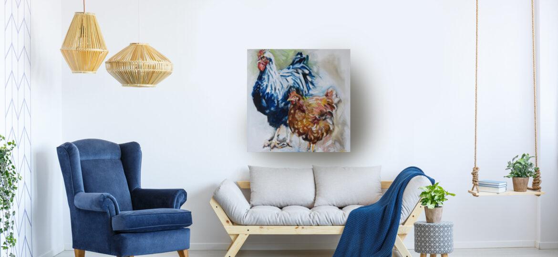 Blue Orange Chicken 80 x 80cm, oil on canvas