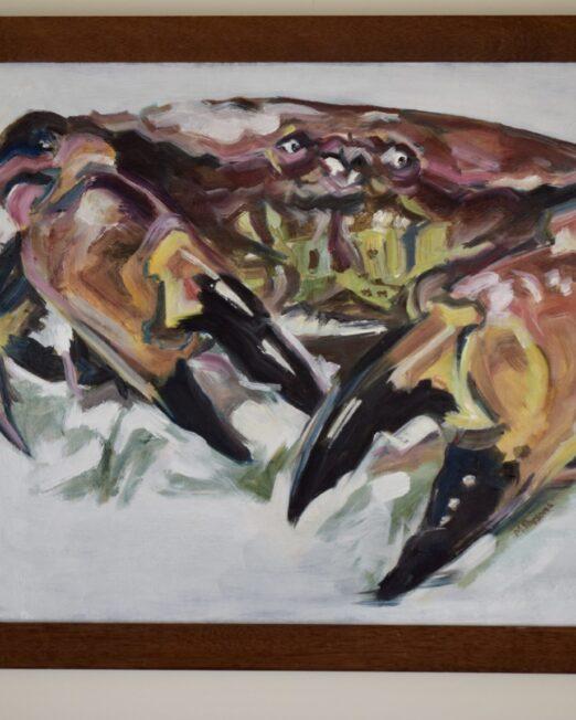Framed Crab 47 x 60cm, oil on canvas in vintage wood frame