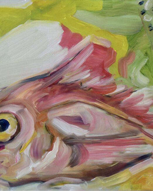 Pink Fish 23 x 30.5cm, oil on 2cm wood panel